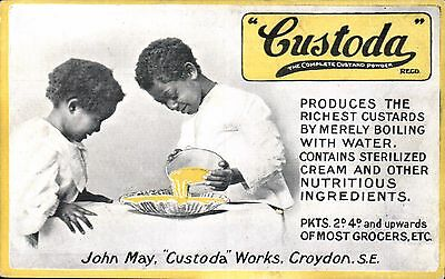 Advertising. Custoda Custard Powder, Croydon. Black Children.