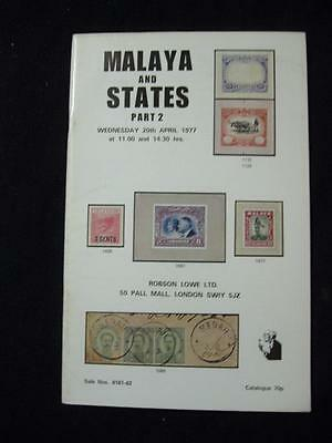 Robson Lowe Auction Catalogue 1977 Malaya And States Part 2