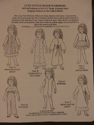 NG Creations Easy to Sew Pattern #PP-40 fits Kelly Doll Barbie Little Sister