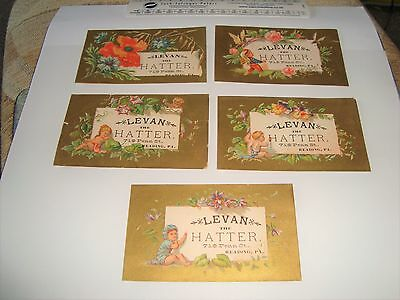 Attractive old vintage cards Levan Hatter 719 Penn St. Reading PA old hat cards