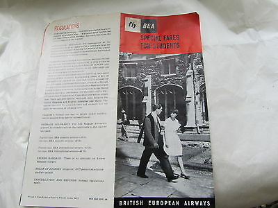 Vintage 1960s BEA Special Fares For Students Leaflet