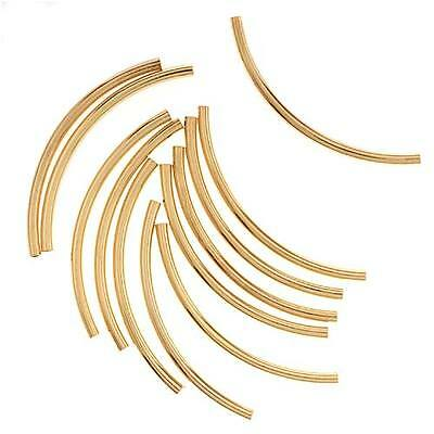 Gold Plated Curved Noodle Tube Beads 2mm X 38mm (12)