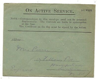 WW1 British Army On Active Service Field Post Cover to Hampstead