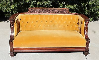 Victorian Carved Mahogany Jelliff Figural Maidens Sofa Shell & Roses Crest c1875