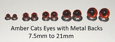 AMBER CATS Crystal Eyes with METAL BACKS -Traditional Teddy Bear Toy Doll Safety