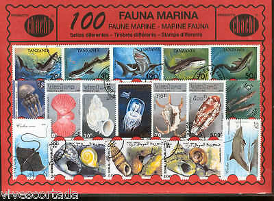 100 stamps different world en used MARINE FAUNA @