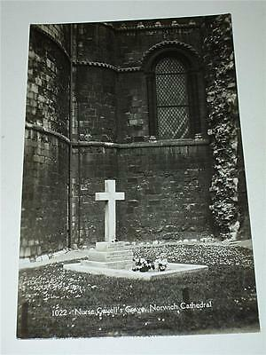 Nurse Edith Cavell's Grave. Norwich Cathedral - Ww1 Rp Photo Postcard!