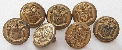 Set 7 Antique Vintage Brass Buttons Military School Rochester Waterbury Backmark