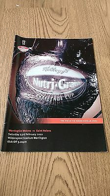 Warrington v St Helens 2002 Challenge Cup Rugby League Programme