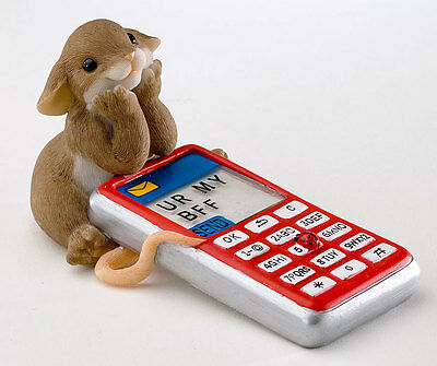 Charming Tails Hope You Get the Message, Text Cell Phone Friend Mouse Mice BFF