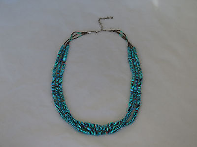 "Fantastic 28"" Native American Triple Strand Turquoise Necklace"