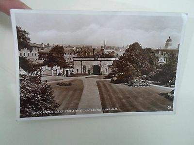 Vintage Real Photo Postcard The Castle Gate From The Castle Nottingham