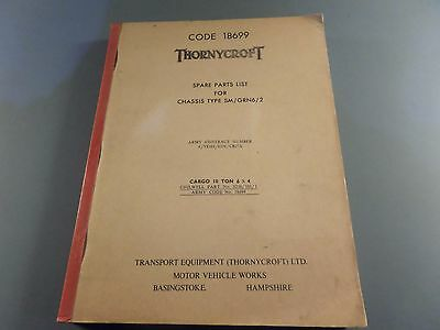 Thornycroft Spare Parts List Chassis Type Sm / Grn6 / 2 Army Vehicle Manual