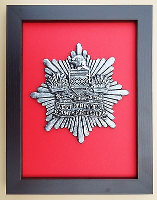 Large Scale Framed WEST MIDLANDS FIRE SERVICE Badge Plaque