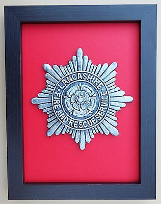 Large Scale Framed LANCASHIRE FIRE & RESCUE SERVICE Badge