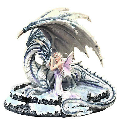 Large Frozen Blizzard Winter Goddess Fairy With Ice Shadow White Dragon Statue