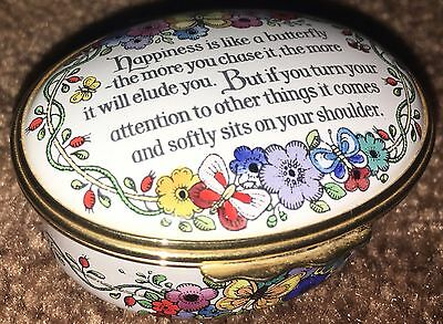 Halcyon Days Enamel Trinket Box Happiness Is Like A Butterfly