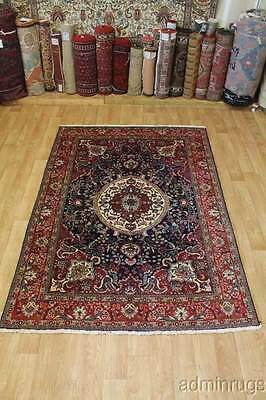 Excellent Navy Blue Tree of Life Tabriz Persian Oriental Area Rug Carpet 7X10 ft