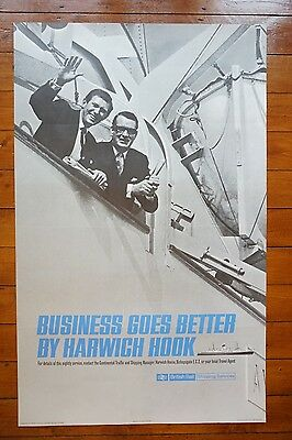 1960s Harwich Hook Shipping Services Original Railway Travel Poster SS Avalon