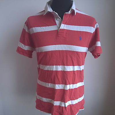 Red White Stripe Polo Shirt Ralph Lauren Jersey Size Adult Xl