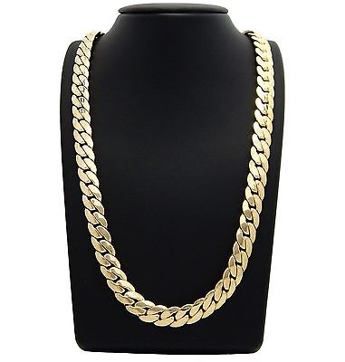 "Mens Miami Cuban link Chain 12mm 14k Gold Plated 8"" 9"" 24"" 30"" Bracelet Necklace"