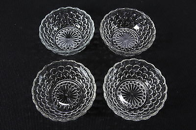 """4 Bubble-Clear Pattern Glass Fruit Or Dessert Bowls 4 1/2"""" Diam Anchor Hocking"""