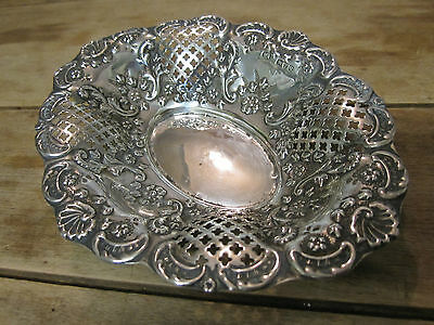 Silver Repousse pierced basket bonbon dish marked Chester William Aitkin 1899