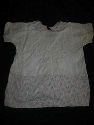 Vintage Antique 1920s Doll or Baby Dress Handmade Cotton Pink & White