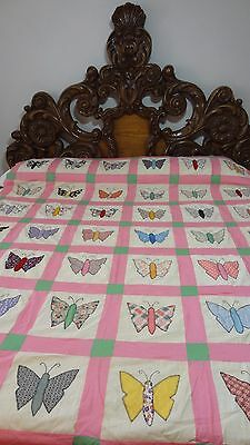 Awesome Vintage Feed Sack Appliqued Butterfly Quilt Top #J1.