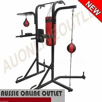 Punching Bag Stand Boxing Speed Ball Chin Up Tower Knee Raise Multi Station Gym