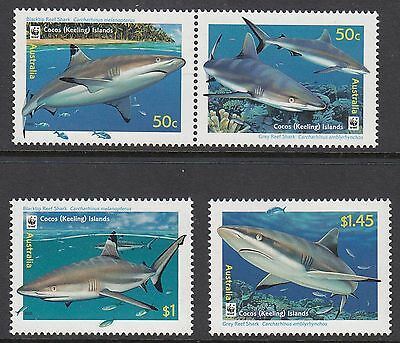COCOS ISLANDS 2005 REEF SHARKS, Set of 4, Mint Never Hinged
