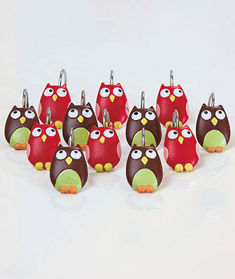 Perching Owl Shower Curtain Hooks ~Set Of12~ Colorful & Expressive ~ Nip