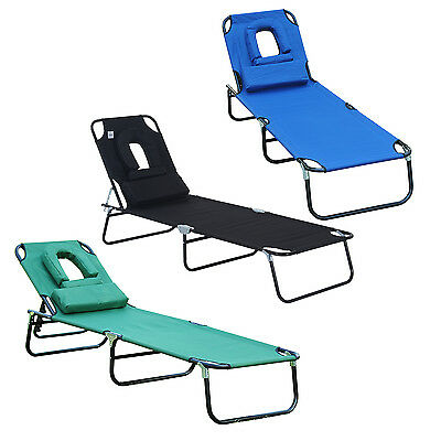 Adjustable Reclining Seat Folding Garden Chaise Lounge Bed w/ Reading Hole