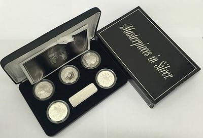 Australia 1989 Royal Australian Mint Masterpieces in Silver Proof 5 coin set
