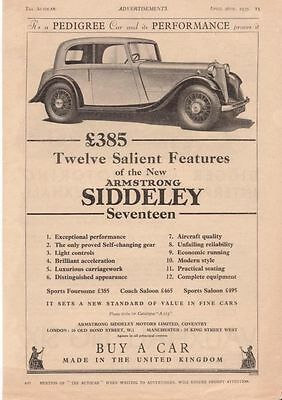 RF2030 1935 35 Armstrong Siddeley Seventeen Vtg The AutoCar Magazine Ad