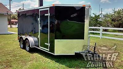 NEW 2017 7 x 14 7x14 V-Nosed Enclosed Cargo Motorcycle Trailer Ramp & Side Door