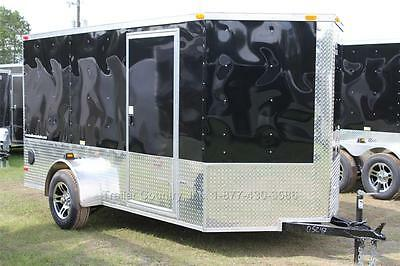 NEW 2017 6x12 6 x 12 V-Nosed Enclosed Cargo Motorcycle Trailer Ramp & Side Door