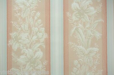 1940s Vintage Wallpaper Pink White Moire Stripe with White Lilies