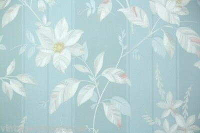 1940s Vintage Wallpaper White and Pink Flowers on Blue