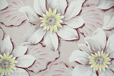1940s Vintage Wallpaper Large Tropical Flowers Gray Yellow and Burgundy