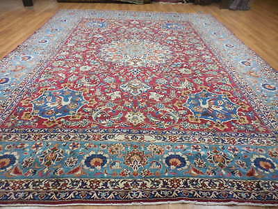 Ca1930s VG DY ANTIQUE PERSIAN QOM QUM GHOM 10x13 ESTATE SALE HUNTING RUG