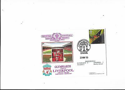 Dawn Postal Cover Olympiakos  v Liverpool UEFA Cup 23/11/2000