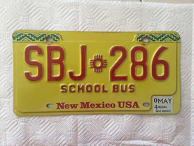 """New Mexico School Bus  License Plate """" Sbj 286 """" Nm Pupil Transport Education"""