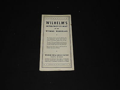 Old 1935 Map Bozeman Trail Wyoming Campbell County Wilhelm Tire Service