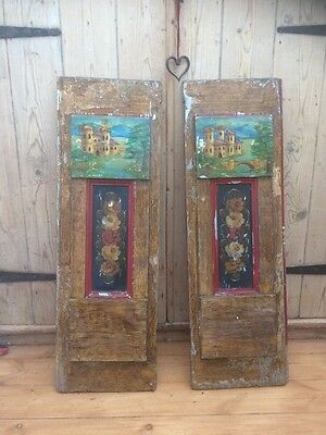 Antique Bargeware Painted Panels Narrowboat Barge Canal Pair Doors