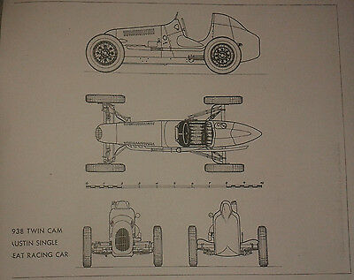 A1 plan drawing of 1938 Austin 7 single seater racing car