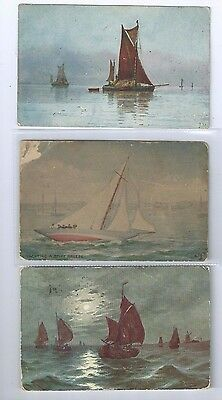 Postcard Collection Sailing Vessels Boats 1907-1913 Yachting in a Stiff Breeze