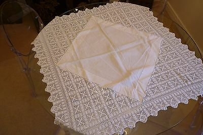 "34"" x 34 Antique White Linen Hand Worked Lace Table Cloth Tea Cloth"