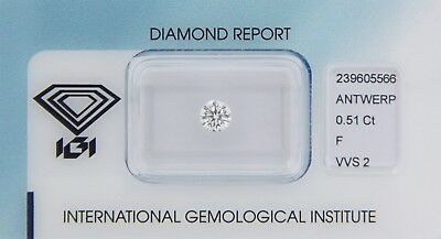 Diamond 0,51ct F VVS 2 Round IGI Certificate  - Laserscribe and Sealed -