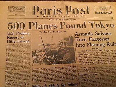 """Hitler 1945 Escape ? Newspaper French""""paris Post""""in English &pre Atomic Bombings"""